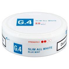 "Snus - Kautabak - ""G.4 BLUE MINT SLIMM ALL WHITE PORTION"""