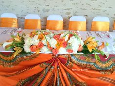 Wedding of Cory and Floris at the park area – Decoration in wax, dashiki, orange and white Source by African Wedding Theme, African Theme, African Weddings, Traditional Wedding Decor, African Traditional Wedding, Wedding Centerpieces, Wedding Decorations, Table Decorations, Wedding Ideas