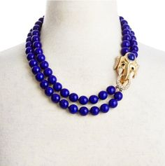 Cobalt Blue Elephant double-strand Necklace