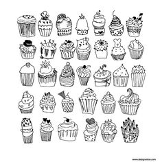 coloring pages - 33 premium freehand cupcakes vector dezignation Colouring Pages, Coloring Pages For Kids, Coloring Books, Cupcake Drawing, Cupcake Art, Desserts Drawing, Cupcake Illustration, Cupcake Vector, Doodle Characters