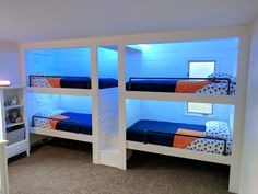 built in bunk beds! 4 person or 6 person bunk beds! My husband and I designed and built these for our 3 boys & share in the link all the details of how to build them DIY!