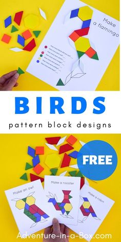 Get the free printable pack of bird pattern block designs for nature-themed STEM centres in your preschool and kindergarten! Children will learn the names of birds, practice building skills and math – all at once. - Kids education and learning acts Bird Crafts Preschool, Free Preschool, Preschool Learning, Preschool Teachers, Science Crafts, Daycare Crafts, Toddler Activities, Learning Activities, Preschool Activities