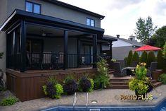 Patio Plus – Multi level Decks - Modern Pergola With Roof, Patio Roof, Back Patio, Pergola Patio, Backyard Patio, Pergola Kits, Covered Pergola, Pergola Ideas, Concrete Patios