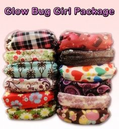 New to our store...Glow Bug Girl Package.  Includes 12 pocket diapers, 24 inserts and a FREE wetbag! $150