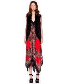 -3X6A MICHAEL Michael Kors  Faux-Fur Vest & Printed Maxi Dress