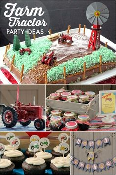 Longing for a breath of fresh air? This boy's Tractor on the Farm birthday party delivers country in made-from-scratch decorations, favors and food! Tractor Birthday, 1st Boy Birthday, Boy Birthday Parties, Birthday Banners, Birthday Invitations, Shower Invitations, Birthday Cakes, Unique Birthday Party Ideas, Diy Party