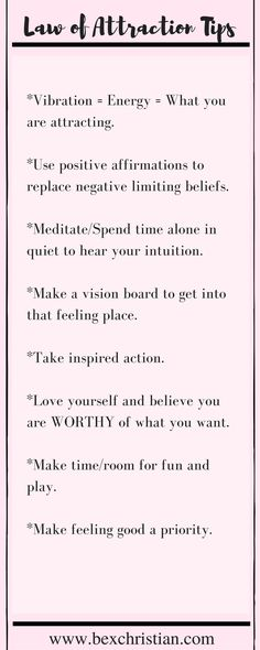 Some basic tips for using the law of attraction and practicing self love. Click through for more or pin to save for later! http://www.bexchristian.com