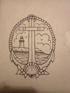 Anchor & lighthouse tat