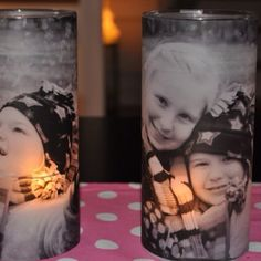 Use vellum and inkjet printer on flat cylinder candle holder.
