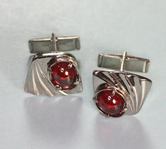 Silver Tone and Red Glass Cab Cufflinks Cuff Links Vintage via Etsy