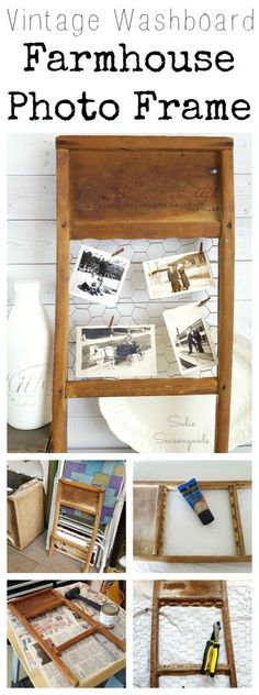 This idea would work with all kinds of objects that form a frame, just like this broken vintage washboard that I found at an antiques store. I simply added old chicken wire to the back of the opening to create a rustic farmhouse photo frame as wall decor! Thanks to Joanna Gaines and Fixer Upper, this is right on trend and a super easy repurpose / upcycle DIY craft project that anyone can do! #SadieSeasongoods / www.sadieseasongoods.com