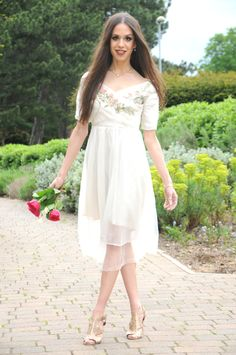 Floral and White Delicate Dress with Golden High Heels- She Hearts Sasmitha Dellawa