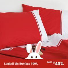Lenjerie de pat din bumbac Valentini Bianco VKR20 Red Modern, Trendy Tree