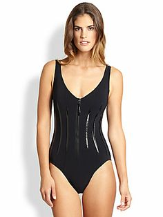 eaced98550 Karla Colletto Swim - One-Piece Zip-Front Swimsuit