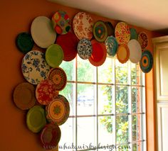 Decadent plate valance window treatment, by Somewhat Quirky Design, featured on Funky Junk Interiors
