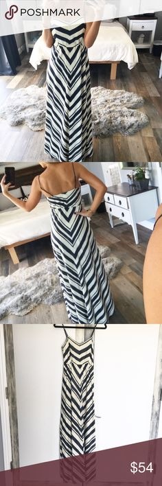 Fossil - Striped Maxi Dress Worn once, great condition. A-line spaghetti strap maxi dress by Fossil. Fossil Dresses Maxi