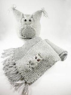 Mützen - Dicke Wintermütze, Wolle Schal, Mütze Eule - ein Designerstück von SvetlanaVP bei DaWanda