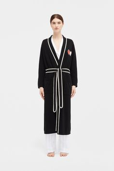 Featuring a flame red heart and a cream trim, this wool and cashmere-blend dressing gown is unmatched comfort, style and perfect for pampering. Black Twins, Size Model, Pjs, Knitwear, Duster Coat, Two By Two, Cashmere, Dressing, Gowns