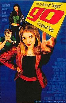 Go.  Told from three perspectives, a story of a bunch of young Californians trying to get some cash, do and deal some drugs, score money and sex in Las Vegas, and generally experience the rush of life. Awesome film from the 90s actually reminding me of the 90s with soundtrack featuring Len's Steal My Sunshine.