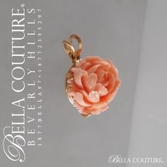(ANTIQUE) Rare Victorian Gorgeous Coral Carved Rose Flower 14K Yellow Gold Necklace Charm Pendant - Fine Jewelry (One of a Kind)