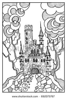 Fantasy landscape. Fairy tale castle, old medieval town, park trees. Hand drawn sketch. Album cover. Coloring book page. For invitation, flyer, sticker, poster, banner,card,label. Vector illustration.