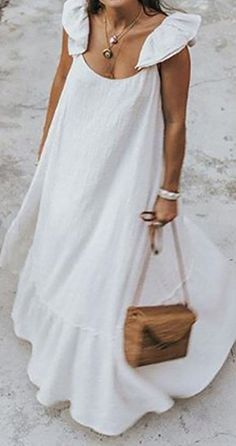 Casual Nice Sleeveless Round Neck Ruffled Trim Stringy Selvedge Plain Maxi Swing Dress for Girls, Street Chic, Look Boho, Maxi Robes, Beach Casual, Mode Inspiration, Elegant Woman, Daily Fashion, 80s Fashion, Club Fashion