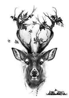 Diseño de ciervo con adornos florales (hojas). Los cuernos parecen ramas. #santcugat #deysitattoostudio #deysitattoo