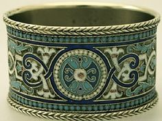 Russian Silver Gilt and Polychrome Enamel Napkin Ring - Antique Circa 1860