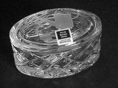 Miller Rogaska Handmade Oval Trinket Crystal Box w/ Etched Watering Can & Flower