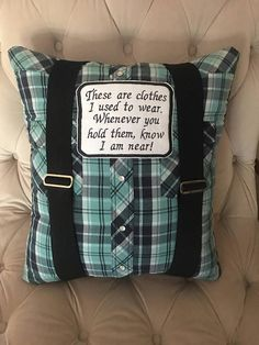 This listing is for a Keepsake Memory pillow(s) made from loved ones shirt(s) or any clothing. This is for anyone in need of comfort due to a loss of a loved one, young or old! These memory pillows can be very comforting to have something to hold on to during time of grief. These