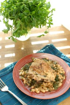 Chicken Thighs with Spinach and White Beans