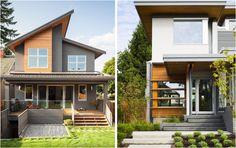 Fachadas de casas com madeira - Veja vários projetos casas´bonitas e modernas com detalhes em madeira na fachada.