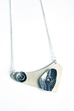 White silver pendant with two flowers by NLGhandmadejewelery on Etsy