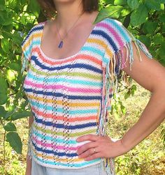 ColorMe! Sleeveless cotton top, knitted in one piece.  Download pattern here: http://www.ravelry.com/patterns/library/colorme-summer-top