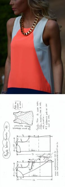Sewing Dresses Blusa Regata simples com recorte Sewing Blouses, Sewing Shirts, Make Your Own Clothes, Diy Clothes, Clothes Refashion, Blouse Patterns, Clothing Patterns, Sewing Dress, Top Pattern