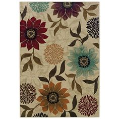Oriental Weavers of America�Cumberland 5-ft 3-in x 7-ft 6-in Rectangular Beige Floral Area Rug-New Living Room