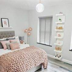 A tight space or an unused wall? You can also choose to hang it vertically or horizontally depending on space and storage needs. Rose Gold And Grey Bedroom, Room Decor Bedroom Rose Gold, Room Ideas Bedroom, Cute Bedroom Ideas, Home Bedroom, Pink And Grey Room, Bedroom Inspo, Teen Bedroom Designs, Bedroom Decor For Teen Girls