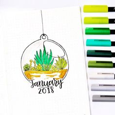 Bullet journal monthly cover page, January cover page, plant drawing, terrarium drawing. | @studying_icedtea