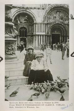 Gertrude Stein and Alice Toklas in Venice in 1908 (March · UC Berkeley Library Alice, Berkeley Library, Lgbt History, Most Famous Quotes, Cinema, Ernest Hemingway, Love Pictures, Belle Epoque, American Artists