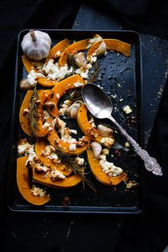 // roast butternut squash with feta & harissa