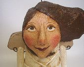 Primitive Paper Mache Folk Art Angel