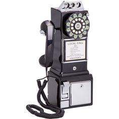 Telefone Público Retro 1950's Pay Phone Preto - Crosley -Telefonia - Telefones fixos - Walmart.com