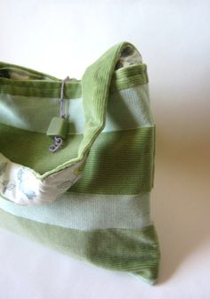 Eco Friendly Celery Green Purse with Silk Floral Lining