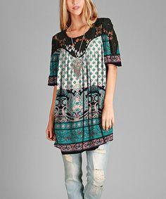 Look at this #zulilyfind! Black & Teal Geometric Crochet Scoop Neck Tunic - Plus #zulilyfinds