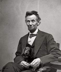 The Long and Short of it All: A Dachshund Dog News Magazine: Mr. Abraham Lincoln and Dachshund (Nice but photoshopped)