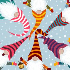 Christmas card with funny gnomes vector image on VectorStock Christmas Gnome, Christmas Art, Christmas Projects, Christmas Pictures, Christmas Decorations, Christmas Ornaments, Candle Decorations, Christmas Tables, Modern Christmas