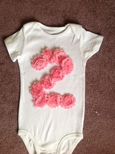 GIRLS ONE or TWO Shabby Rose 1st or 2nd Birthday Flower Baby Onesie Toddler Shirt 1st First or second Party. $24.00, via Etsy.