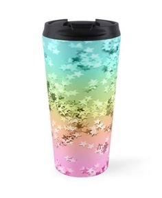 """Rainbow Stars Glitter #1 #shiny #decor #art"" Travel Mugs by anitabellajantz 