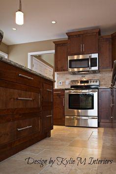 Kitchen Ceramic Floor Ideas With Granite Island And Cherry Cabinets Copper Backsplash on