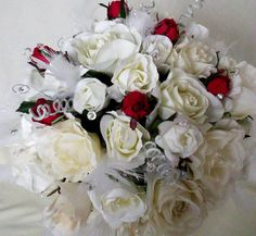 Cheap Silk Bridal Bouquets - Wedding and Bridal Inspiration Silk Bridal Bouquet, Bridal Flowers, Wedding Bouquets, Camo Wedding Bands, Wedding Colors, Wedding Ideas, White Roses, Unique Weddings, Floral Wreath